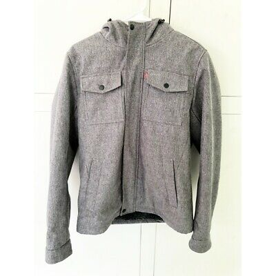 Levis Strauss & Co Mens Gray Zip Up Jacket Hooded Fleece Lined Size Small $180