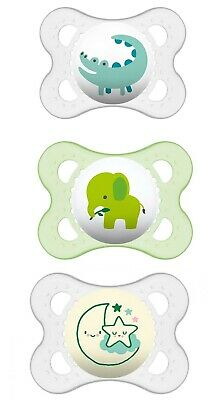 MAM  0-6 Months Value Set (2 Day & 1 Night) Orthodontic Pacifiers Safari Greens