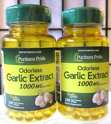 Puritan's Pride Odorless Garlic 1000mg 200 Sgel Allicin Cholesterol Heart +Bonus