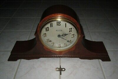 Vintage Wood Ingraham Eight Day Chime Mantel Clock Art #1 Duplex TESTED-WORKS