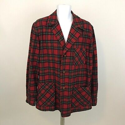 db8fa84fc VINTAGE PENDLETON JACKET Mens L 100% Wool Red Green Plaid Leather Buttons  USA