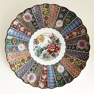 "Vintage Japanese Porcelain Plate Hand Painted 9.5"" Diameter Scalloped Edge Imari"