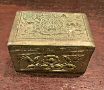 Antique signed Chinese export Silver lucky Prosperity box lotus flower relief