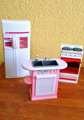 Dollhouse Furniture Barbie Refrigerator, Stove and Sink