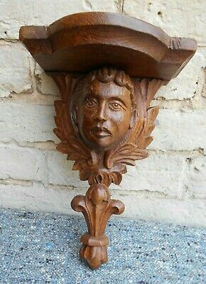 Antique Carved Oak Corbel Bracket Shelf Bust