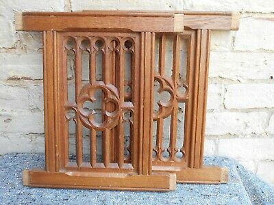 Antique Salvaged Gothic Carved Church Oak Panels