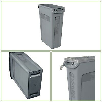 VENTED TRASH CAN Slim Jim Rectangle Commercial Garbage Waste Bin Plastic 23-Gal