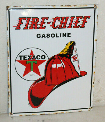 Texaco Fire Chief Vintage Style Porcelain Signs Gas Pump Man Cave Station