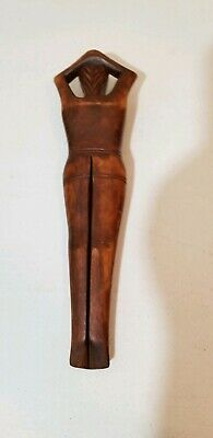"""Hand Carved Wooden Wood Nude Lady Women Nut Cracker 13"""" vintage mid-century"""