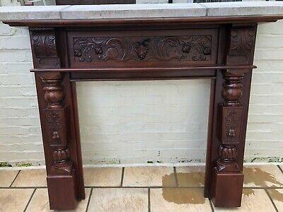 antique solid mahogany fire surround