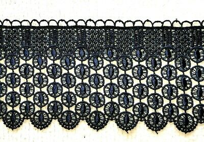 SOLD PER METRE 9.3CM/'S WIDE APPROX. GUIPURE LACE GOLDEN YELLOW CROCHET TRIM