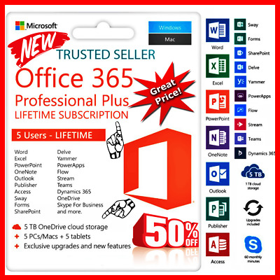 Instant Microsoft Office 365 2016 2019 Pro Key Lifetime 5 Devices 5TB PC/Mac