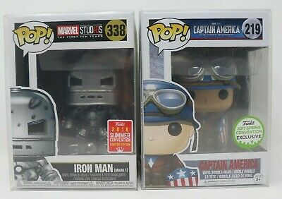 Funko Pop Captain America (First Avenger) ECCC 2017 and IRON MAN (Mark 1) mint