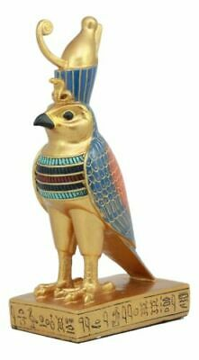 "Ebros Egyptian God Horus Falcon Bird On Hieroglyphic Pedestal Figurine 8.75""H"