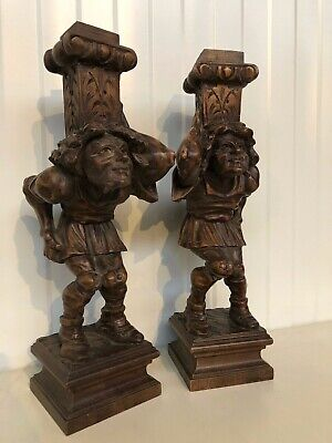 Nice pair of French Walnut Breton Jesters / Jokers / Statues