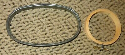 """2 Old Vintage Embroidery Hoops Metal Oval 3 1/2"""" X 6"""" & Small Round Wood 3 1/4"""""""