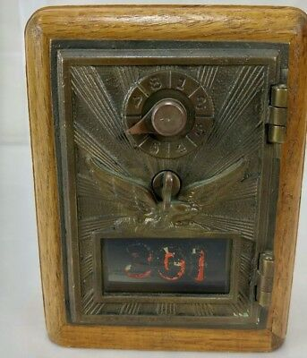 Antique Brass Eagle Post Office Box Combination LockBox Coin Bank