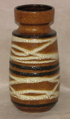 "Lovely Vintage West German Germany Brown & White Swirl Pottery Vase 8"" Tall"