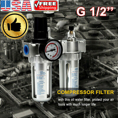 """G1/2"""" Air Compressor Filter Oil Water Separator Trap Tool' With/Regulator G TPD"""
