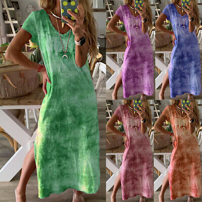 Womens Summer Boho Long Maxi Dress Evening Party Beach Holiday Dresses Sundress