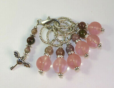 Handmade stitch markers. Natural stone. Set of 7. Fit up to 10mm needles