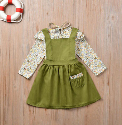 AU Toddler Kids Baby Girl Autumn Clothes Floral Tops Skirt Dress Overalls Outfit