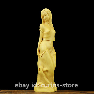 "7.9""Fine Chinese Box-wood Hand-carved Half Naked Beauty Young Pretty Girl Statue"