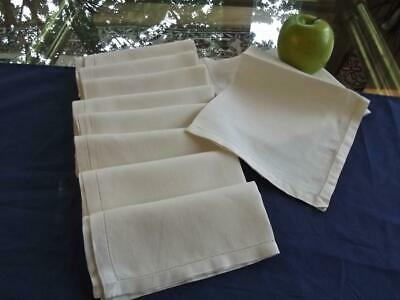 "Set 10 Vintage Plain White Pure Irish Linen 13"" Tea Napkins Hemstitched"