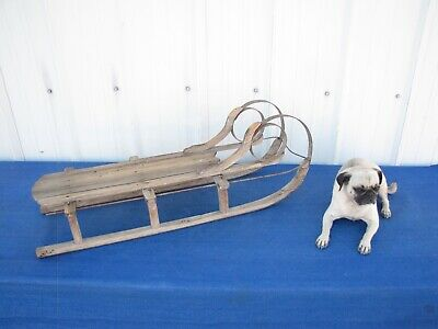 Antique Rustic Primitive Child's Sled Snow Sleigh Wood Metal Runners Decor
