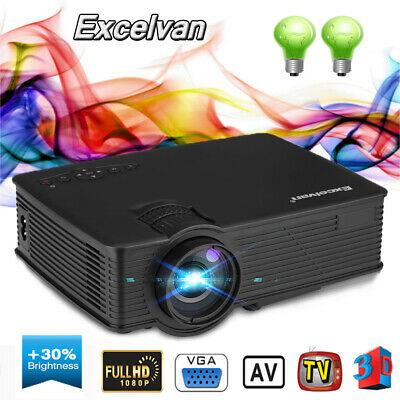 7000 lumens Outdoor LED Full HD Video Projector Home Theatre HDMI USB VGA SD NEW
