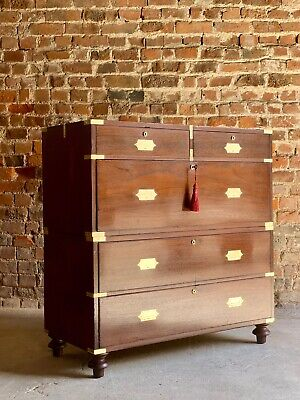 William IV Teak Military Campaign Chest of Drawers Dresser Circa 1820 Number 24