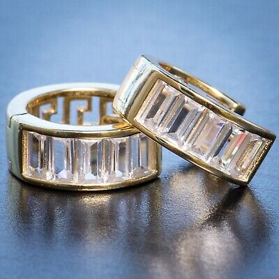 2Pc Iced Small Size 14K Gold 925 Sterling Silver Baguette CZ Mens Hoops Earrings
