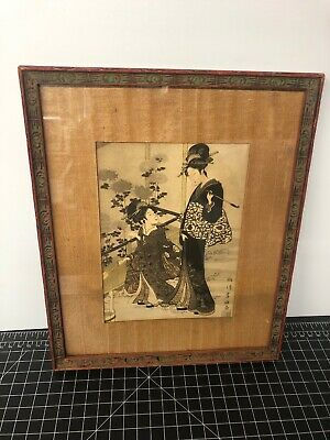 Japanese Woodblock Print Vintage Or Antique Signed Framed Two Girls Smoking 9x11