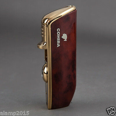 Cohiba Red Metal Wind-Proof 3 Torch Jet Flame Cigar Cigarette Lighter W/Punch