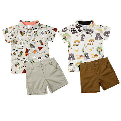 Toddler Kids Baby Boys Clothes Outfits Sets Short Tops T-Shirt + Pants Shorts