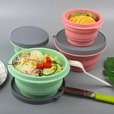 Collapsible Silicone Bowl with Lid 500ML Expandable Food Storage Containers