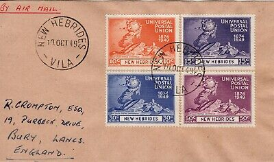 New Hebrides 1949 UPU set used on first day