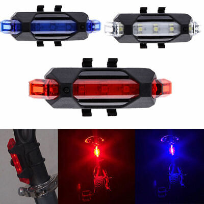 5 LED USB Rechargeable Bike Bicycle Cycling Tail Rear Light Safety Warning Lamp