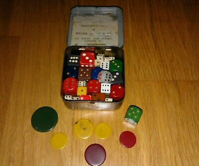 Wwii Soldiers Gaming Water Purify Tin Packed With Dice And Tiddly Winks Counters
