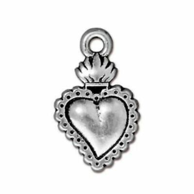 10 Antiqued Silver Plated Pewter 12mm /& 14mm Heart Drop Charms *
