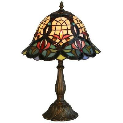 """KLiving 12"""" Barking E27-60w Antique Brass Tiffany Table Lamp/Stained Glass Shade"""