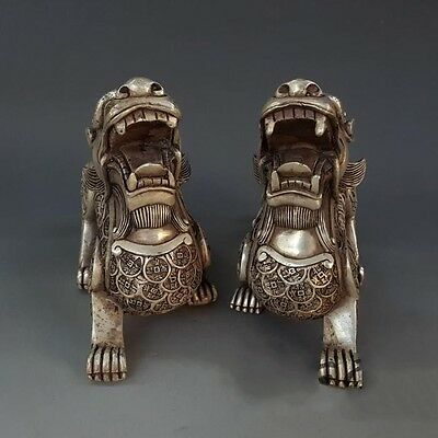 A Pair China Tibet Silver copper Wealth Pixiu /Beast /Brave Troops Statue