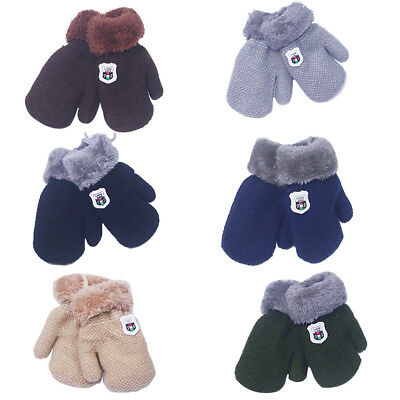 UK_ CN_ Winter Thicken Solid Color Infant Baby Knitted Gloves Mittens with Rope