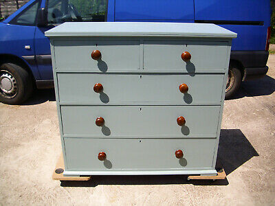 Large Antique Victorian Painted Pine Mahogany Chest of Drawers Turned Knobs