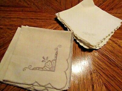 "Vintage LOT 10   Linen Luncheon Napkins 4 Ivory, 6 White 11"" sq"