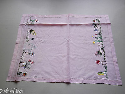 Ancien Napperon Brodé Main Frise de Fleurs Linge/Couture/French Lace embroidery
