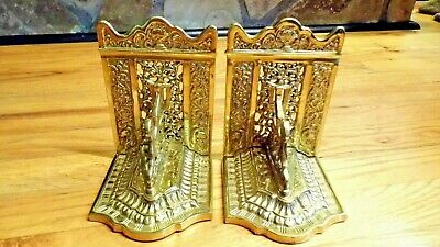 Rare Antique Vintage Brass Bookends Lion Pegasus Sphinx (Highly Ornate)