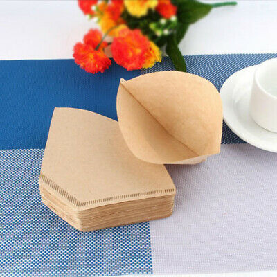 100pcs Coffee Filter Paper Cones Disposable Replacement Unbleached Sector Papers