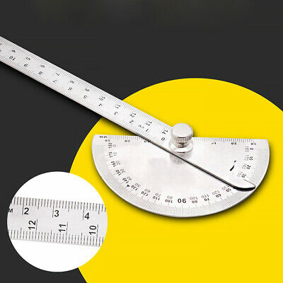 Stainless Steel 180° Protractor Round  Rotary Angle Rule Finder Arm Ruler