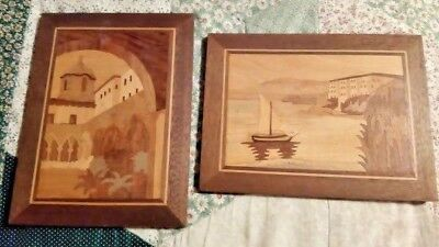 Pair INLAID WOOD Marquetry Hanging Pictures Sorrento ? Vintage 9 x 6 3/7 inches